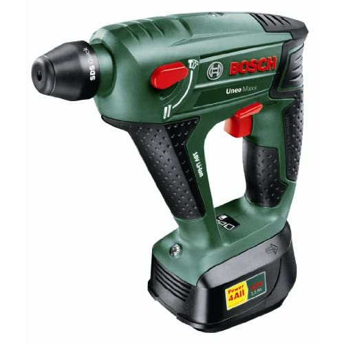 Bosch Uneo Maxx Cordless Lithium-Ion Pneumatic Rotary Hammer with 1 x 18 V Battery, 1.5 Ah