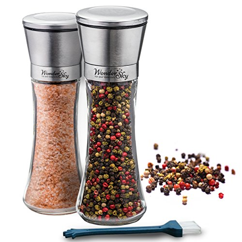 Salt and Pepper Grinder Set of 2-Premium Brushed Stainless Steel 6 Oz Glass Body-Professional 5 Grade Adjustable Ceramic Rotor-Perfect Pair of Mills-Best Kitchen Gift-FREE Utility Brush by Wonder Sky