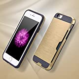 Sunydeal iPhone 6 6S Case Dual Layer Protection Card Slot Back Up Heavy Duty Cell Phone Cover (Gold)