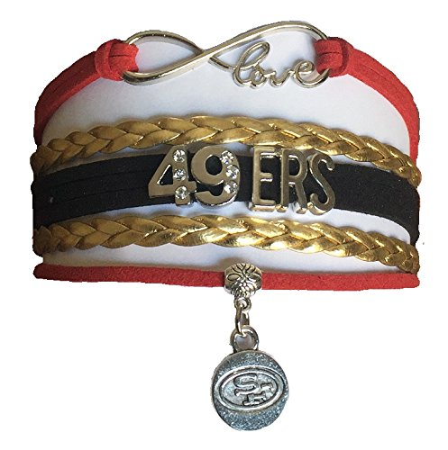 """San Francisco 49ers NFL Black, Gold & Red Infinity Braided Leather Bracelet with Silver """"SF"""" Logo Emblem Pendant Charm - Let's Go Niners!!"""