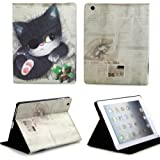 NetsPower Cute Pirate Cat PU Leather Folio Flip Smart Cover Case Stand Auto Sleep Wake up Function for Apple iPad 2 / iPad 3 / iPad 4 with Free Screen Protector Film + Stylus Touch Pen
