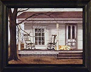 The Long Wait by Billy Jacobs 15x19 Dog Porch Rockers Rocking Chairs Country Primitive Folk Art Print Framed Picture