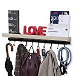 Rustic State Decorative Entryway Organizer | Wall Mounted Wood Floating Shelf with Rail and 10 Hooks Washed White
