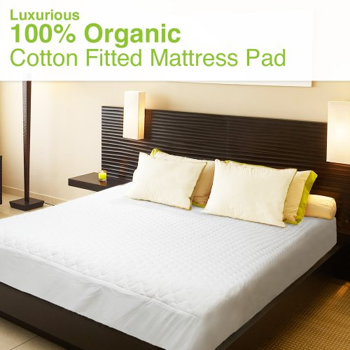 Organic Cotton Quilted Mattress Topper With Surrounding Elastic Straps