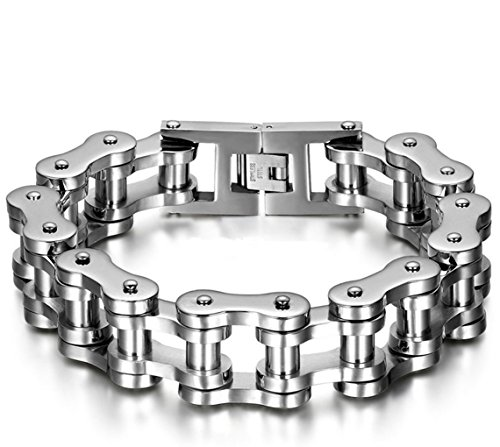 Cool Stainless Steel Motorcycle Biker Chain Bracelet Rock Link Wristband,8.6 Inch (Cycle Chain Bracelet compare prices)