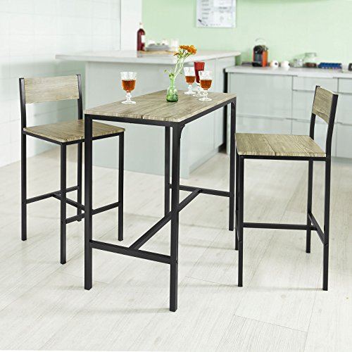 Breakfast bar set stools table dining furniture kitchen for Table haute industrielle