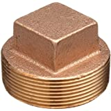 Lead Free Brass Pipe Fitting, Square Head Solid Plug, Class 125 NPT Male