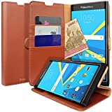 BlackBerry PRIV Case, Profer [Stand Feature] Luxury PU Leather Wallet Case Flip Cover Built-in Card Slots & Bumper Rubber Protective Case for BlackBerry PRIV (Brown) by Profer [並行輸入品]