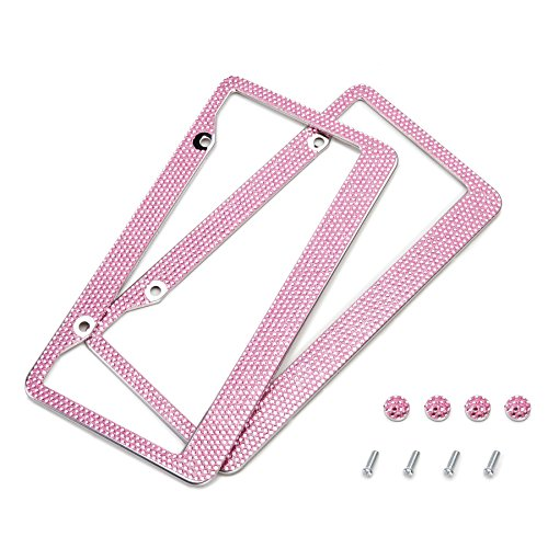 Orion Motor Tech 2 Pink Bling Crystal Rhinestone License Plate Frames + Screw Caps (Vet Tech License Plate Frame compare prices)