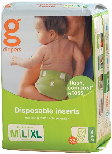 gDiapers Disposable Inserts - Medium/Large (32 count)