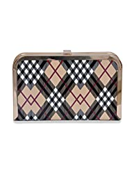 Beige With Check Party Clutch