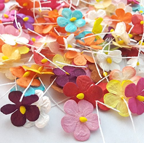 90 Pcs Mixed Color Mulberry Paper Flower Blossom DIY Crafts 15-18mm (Paper For Flower Making compare prices)