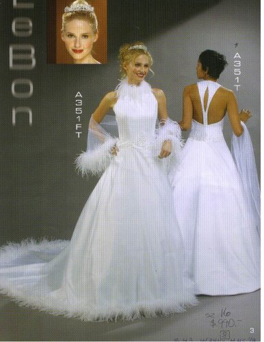 Lebon Bridal Couture #A351T White Size 16 Formal Bridal Gown Wedding Dress