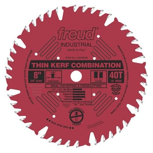 Where to buy Freud LU83R008 8-Inch 40 Tooth ATB Thin Kerf Combination Saw Blade with 5/8-Inch Arbor and PermaShield Coating...