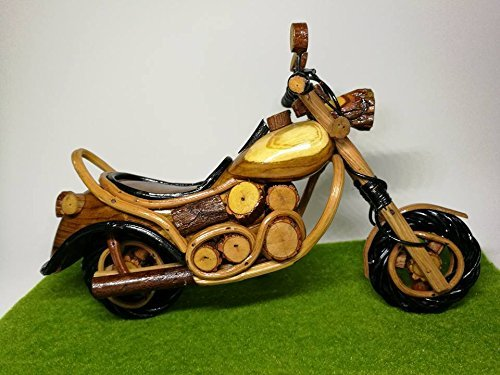 HappyHunsa Chopper Motoercycle model Teak Wood Rattan Thai Handicraft Collectible Model Home Decor Souvenir
