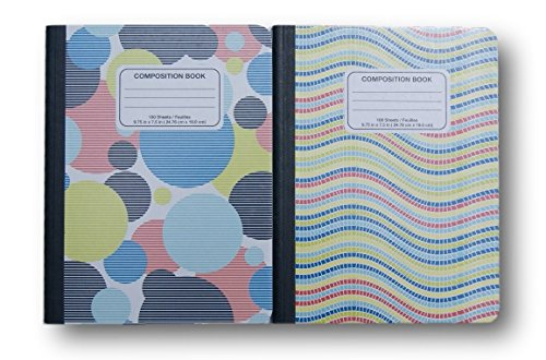 Geometric Patterned Wide Ruled 100 Sheets Composition Notebooks - (Pack of 2) (Norcom Inc Notebook compare prices)