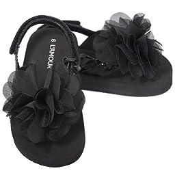 L\'Amour Toddler Girls 5 Black Sequin Strap Flower Flip Flop Sandals