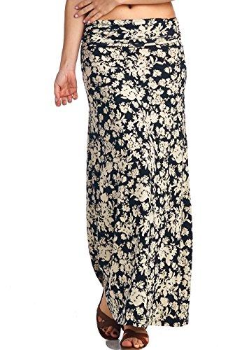 LeggingsQueen Women's High Waisted Rayon Spandex Printed Maxi Skirt (S2429-BG-Black+Sand, X-Large)