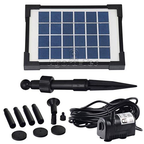 ® AT-2W Solar Teichpumpe 2 Watt Hmax.: 170l/h Fontainenhöhe: 0,65m für Gartenteich oder Springbrunnen