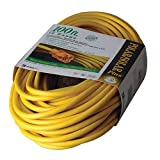 Coleman Cable 01289 100-Foot All-Weather 16/3 Extension Cord with Lighted End (Color: Yellow, Tamaño: 100 ft)