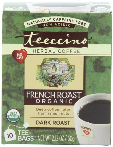 Teeccino French Roast Herbal Coffee Alternative, Caffeine Free, Acid Free, 10 Count (Pack Of 6)