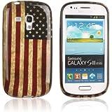 Tinxi - Carcasa rígida de silicona para Samsung Galaxy S3 Mini i8190, diseño de la bandera de EE. UU., color rojo, azul y blanco