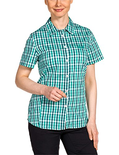 Jack Wolfskin Damen Bluse River Shirt Women, Deep Mint Checks, XXL, 1400991-7554006