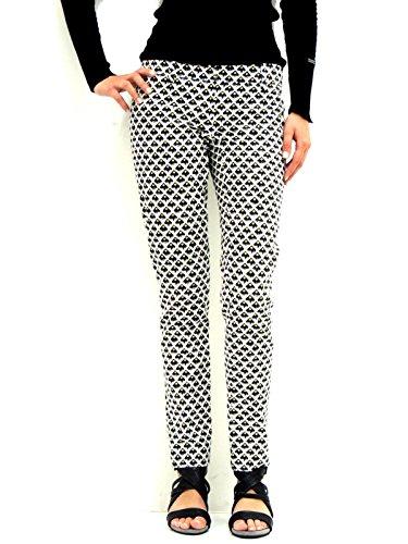 Patrizia Pepe pantalone donna chino a fantasia geometrica 2P0368AZ20 bianco nero 40