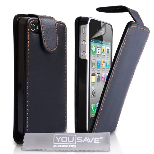 gadget geek - coque iphone 4s flip cuir ecran protection noir