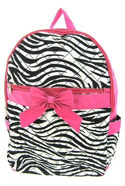 Beautiful! Quilted Zebra School Backpack Pink Trim (Pink Backpack) - 1