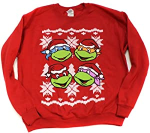 Teenage Mutant Ninja Turtles 4 Faces Ugly Sweater Style Christmas Sweatshirt
