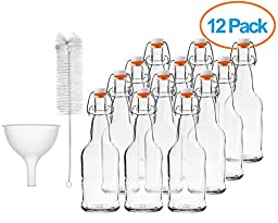 Chef\'s Star CASE OF 12 - 16 oz. EASY CAP Beer Bottles with Funnel and Cleaning Brush - CLEAR