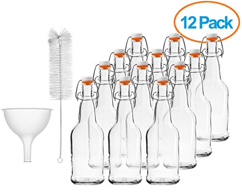 Chef's Star CASE OF 12 - 16 oz. EASY CAP Beer Bottles with Funnel and Cleaning Brush - CLEAR (Chef Bottles With Caps compare prices)