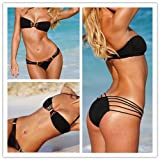 Zicac 2Pcs New Black Fashion Sexy Women Padded Swimwear & Swimsuit Bikini S M L Hot (S)