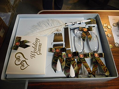 Wedding Camo Military Marine Guest Book Pen Glasses Cake Knife 8 Psc