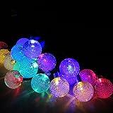 E-Light 20 Crystal Ball Outdoor Christmas String Lights Solar Powered for Patio, Garden, Holiday, Party, Wedding(Multi Color)