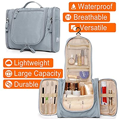 Heavy Duty Waterproof Hanging Toiletry Bag - Travel Cosmetic Makeup Bag for Women & Shaving Kit Organizer Bag for Men - Large Size: 10.2 x 4.5 x 8.5 Inch