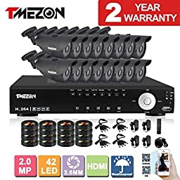 TMEZON NEW 16CH 1080N AHD Video DVR Security System 16 AHD 2.0MP 130ft Super Night Vision 42 IR LEDs Indoor/Outdoor Security Camera Transmit Range P2P/QR Code Scan Easy Setup