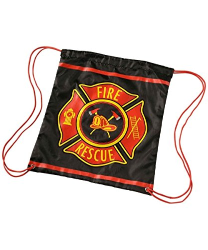 Fire Fighter Rescue Kids Drawstring Backpack Trick or Treat Bag