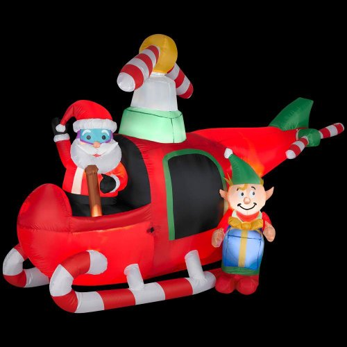 Christmas Decoration Lawn Yard Inflatable Airblown Animated Santa & Elf In Helicopter 7.5' Tall front-414342