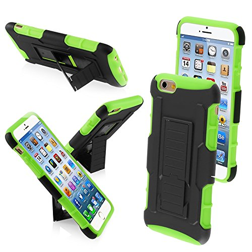 Mybat Rubberized Car Armor Stand Protector Cover Iphone 6 - Retail Packaging - Black/Green