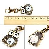 Yesurprise Bronze Farbe Eule Anhänger Quarz Uhr Taschenuhr Schlüsselring Damen Kinderuhr Geschenk Watch Xmas Gift