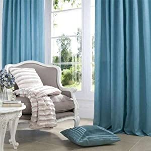 Superb Quality 90x108 Teal Faux Silk Ring Top Fully Lined Curtains *tur* from Curtains