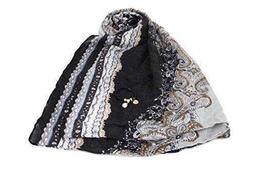 Sciarpa donna Lancetti pashmina in box x9580 nero moda italiana