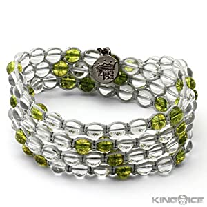 King Ice Clear and Green Beaded Braid Wrap Bracelet