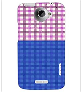 PrintDhaba Check Pattern D-4439 Back Case Cover for HTC ONE X (Multi-Coloured)