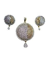 Poddar Jewels Cubic Zirconia Stylish Round Pendant Set