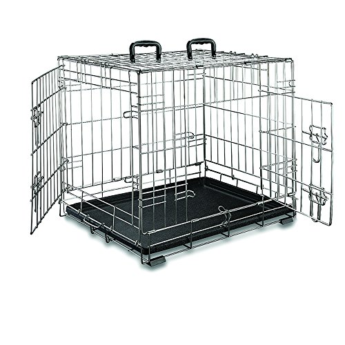 Premium Stainless Steel Folding Double-Door Dog Crate Weather-proof Portable Pet Kennel (24 Inches) (Double Door Dog Crate 24 compare prices)