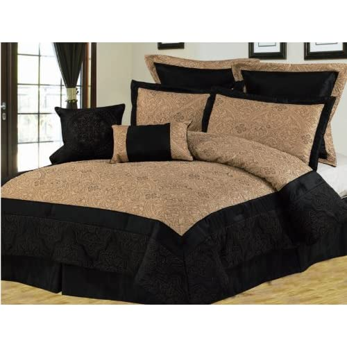12pcs Queen Black And Gold Bedding Bed In A