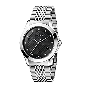 Gucci G-Timeless Collection Men's Quartz Watch with Black Dial Analogue Display and Stainless Steel Bracelet YA126405